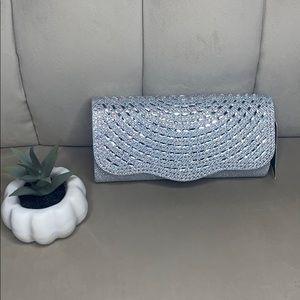 Silver sparkly rhinestone evening clutch bag